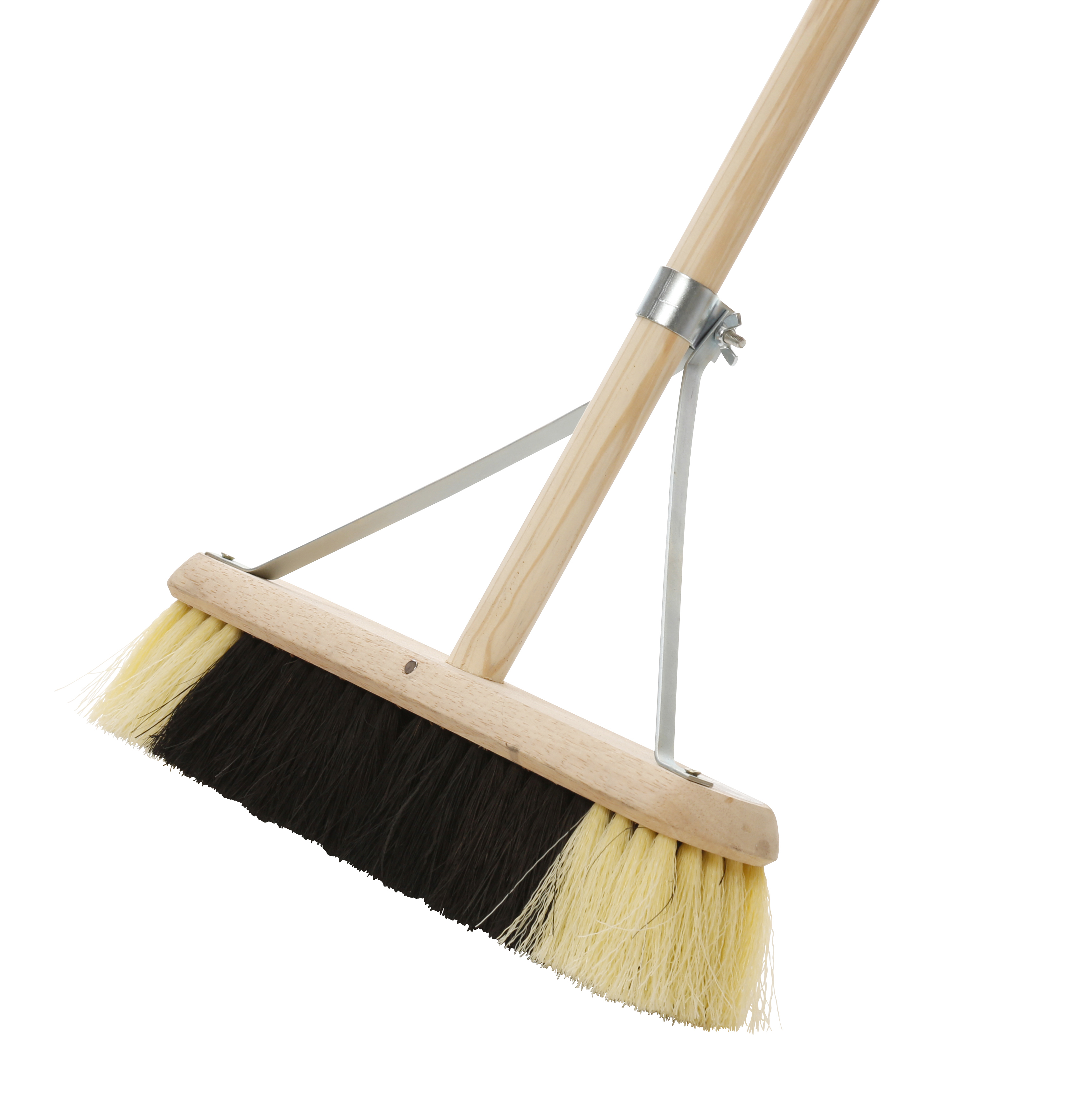 "Stage Broom  24"" Black/White with Handle and Stay"