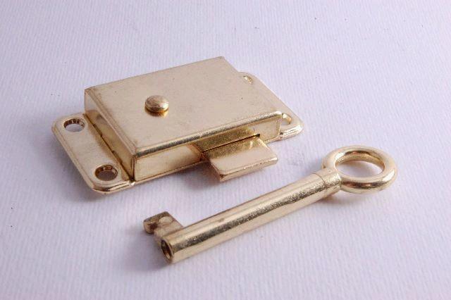 Wardrobe Lock 65mm Brass