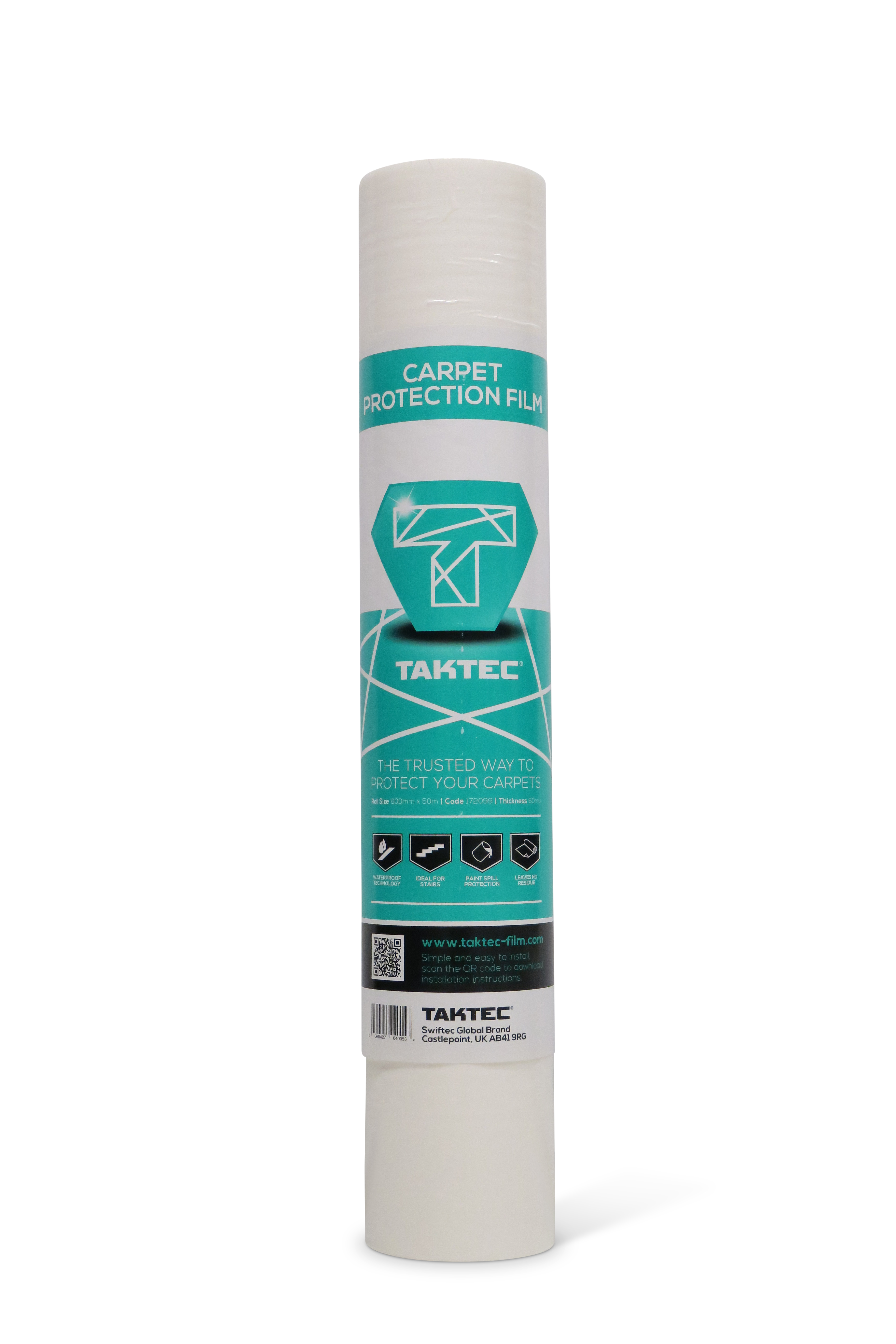 Taktec Carpet Protector Film 600mm x 50M  Self Adhesive Roll