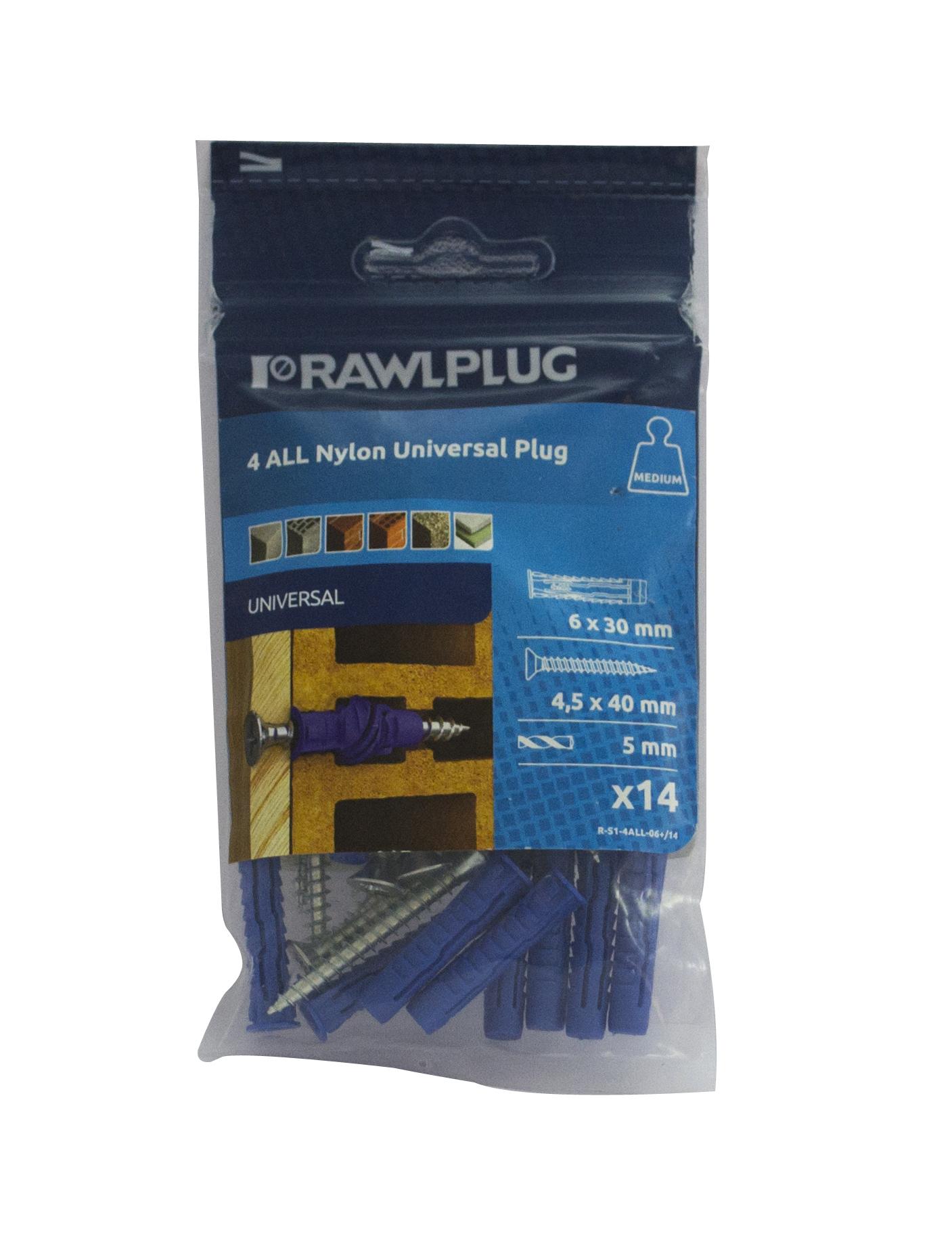 Rawl Trade Nylon Plug 6mm + Screw (15pcs)