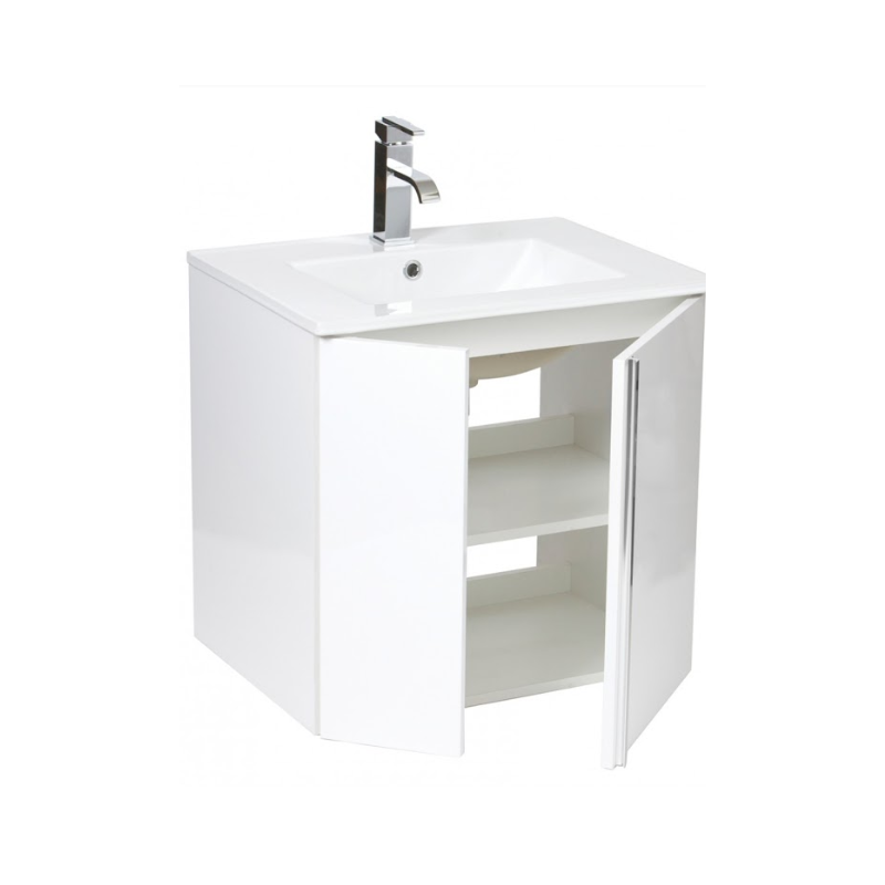 Avila 60 Wall Hung White Vanity Unit, Poole Basin