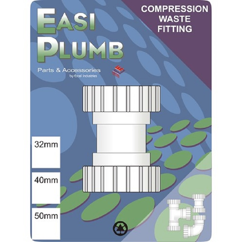 """Waste Compression 1 1/4"""" Coupling (Nut & Ring)"""