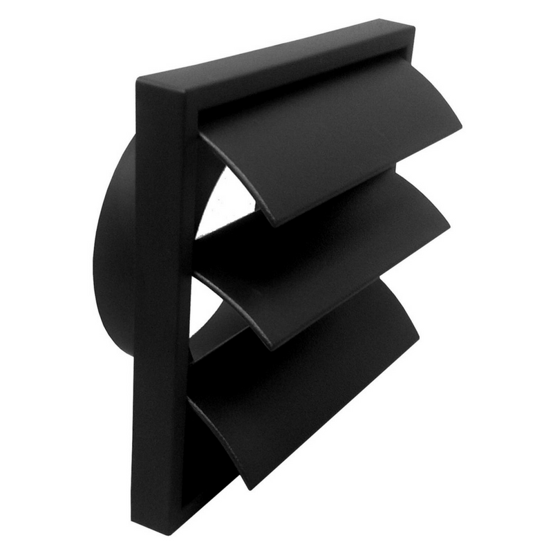 Wall Vent With Flap 100mm Black (Round Connection)