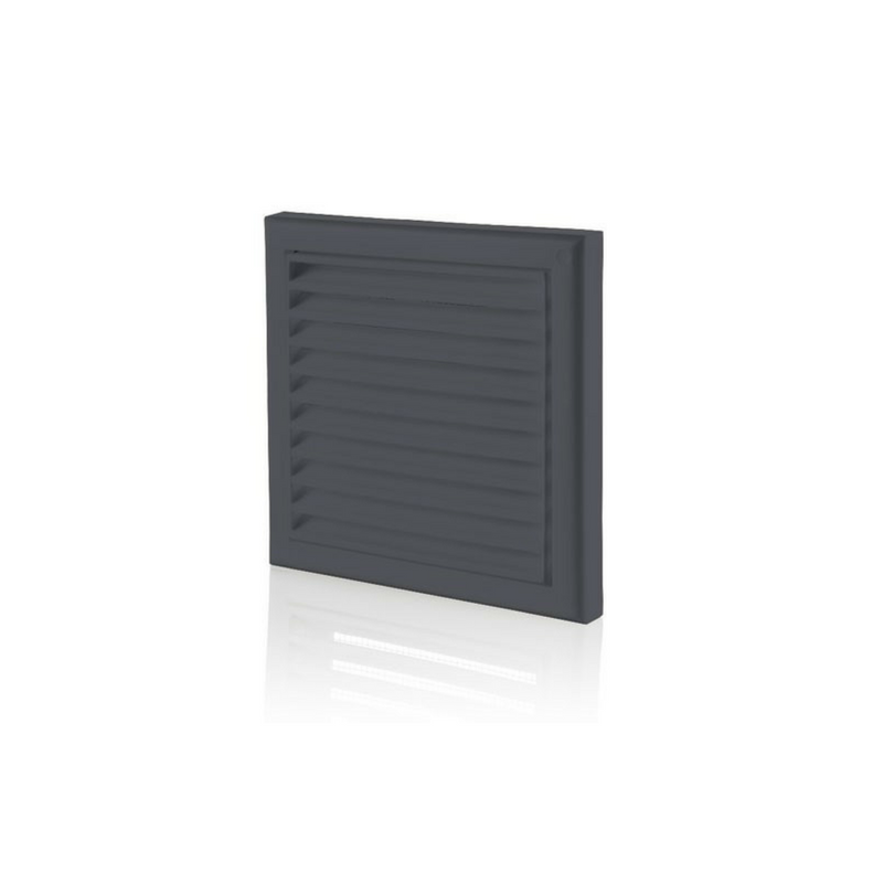 Wall Grille With Flyscreen 100mm Black (Round Connection)