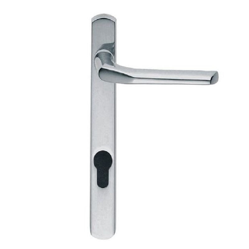 Exterior Handle (Narrow Plate) Straight Lever Lock Euro Profile (92mm Centres) CP (Grub Screw on Side)