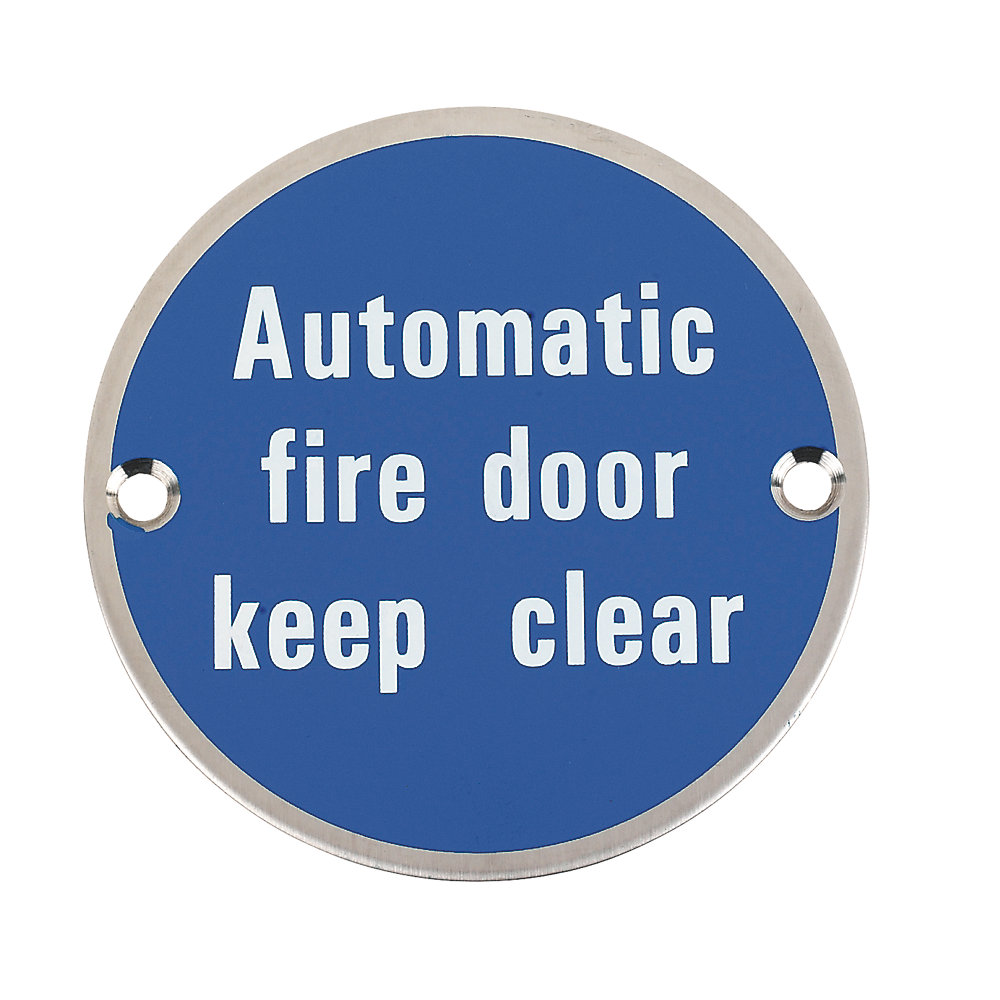Automatic Fire Door Keep Clear 75mm Disc SSS