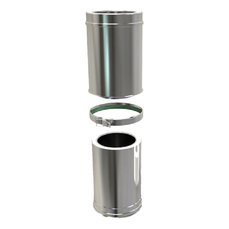 Pellet Twin Wall Adjustable Pipe 340-490mm 80mm