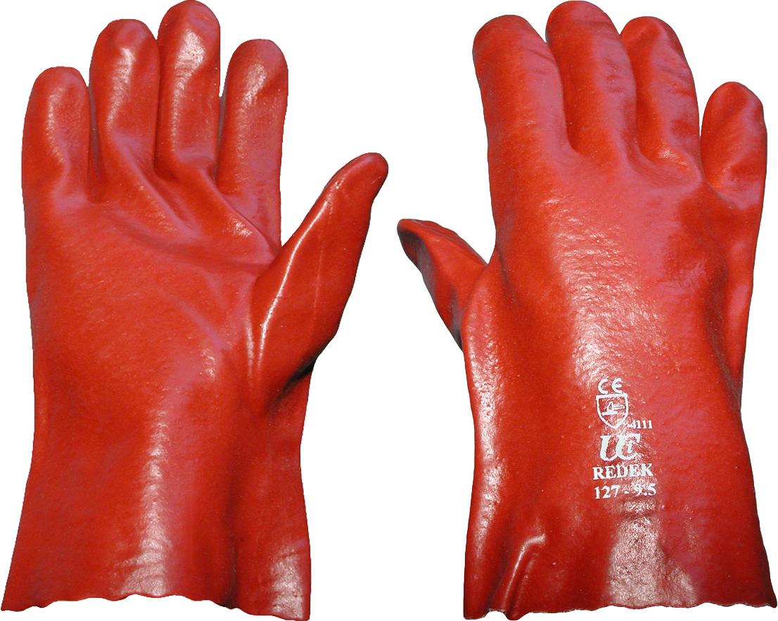 "Red PVC Gauntlet Glove 11"" (Open Wrist)"