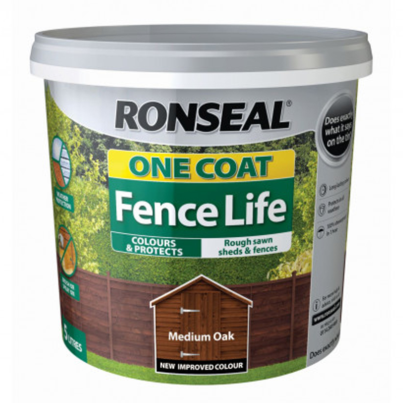 Ronseal One Coat Fencelife 5L Medium Oak