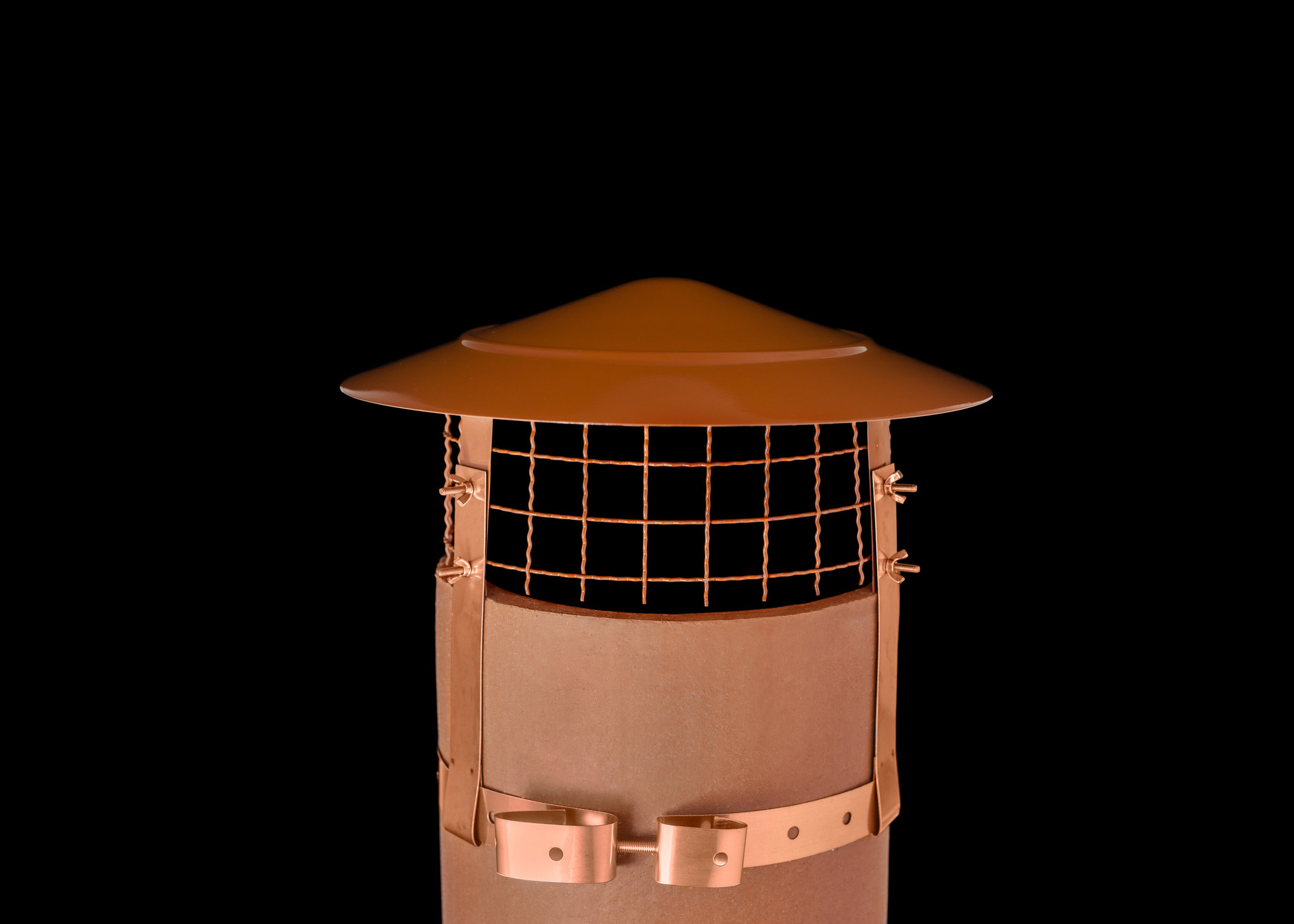 "Anti Bird/Rain Cowl Terracotta Stainless Steel (to fit 8"")"
