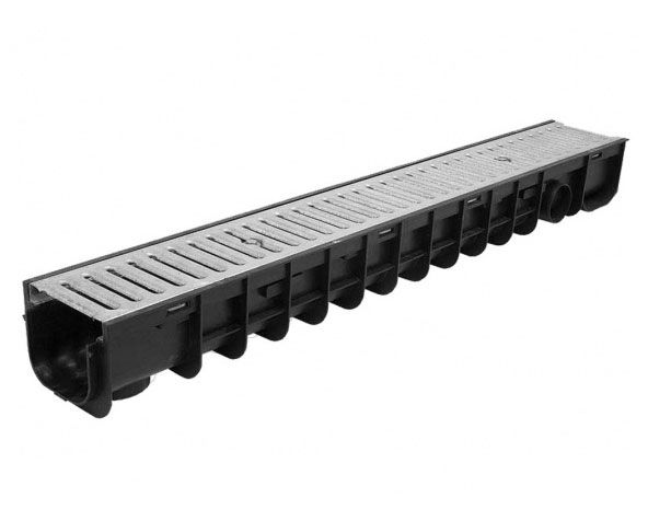 Polypropylene Channel Drain  c/w  A15 Heelsafe Galvanised Grating 1M