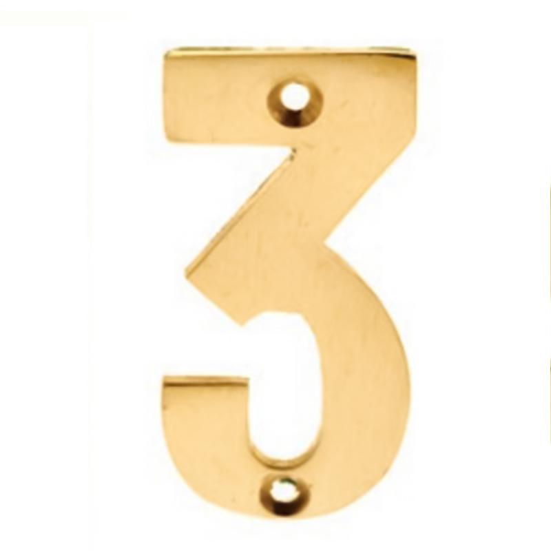 Numerals 3 Screw Fix 65mm Brass ***