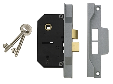 Rebated Mortice Lock 2 Lever 63mm Brass
