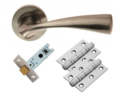 SINTRA Lever On Rose Doorpack Includes: Lock/2xEscutcheons/3x X Hip Hinges SN
