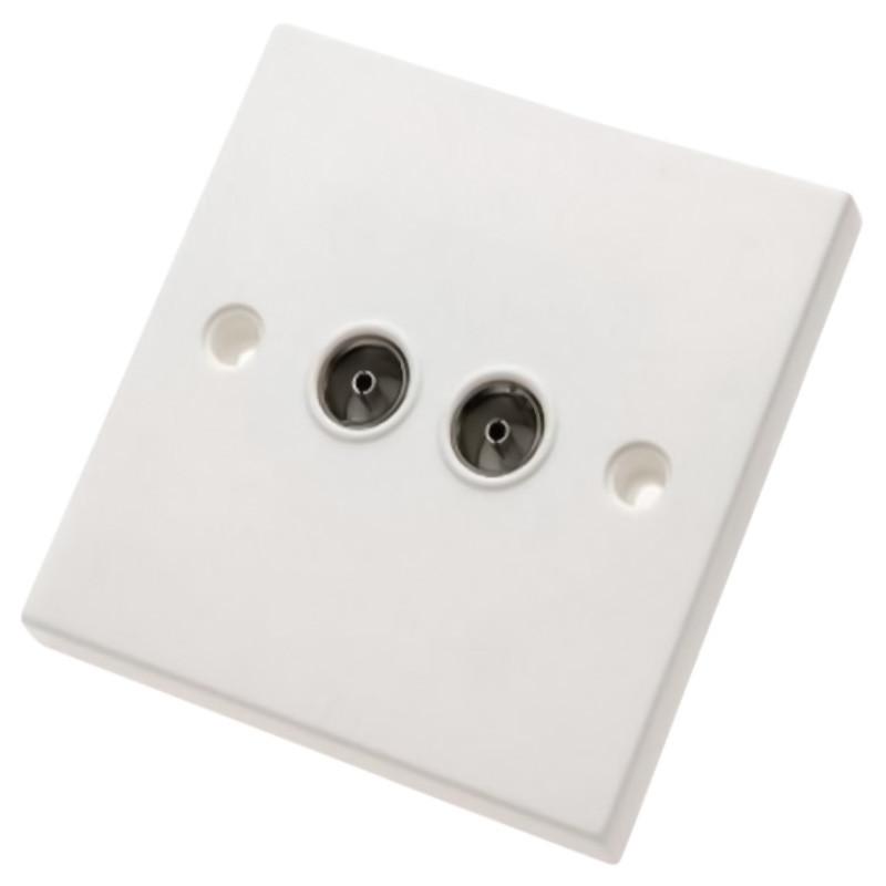 2 Gang Flush Co-Ax / TV Socket