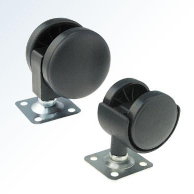 Twin Caster Wheels Large Set Black (Pair)