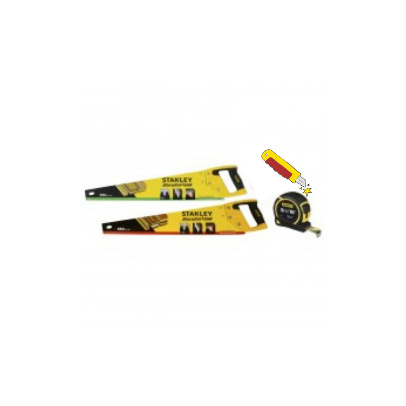 """Stanley 22"""" Fine + Rough Cut Saw Pack cw Free Gift ( Hammer or Tape/Knife)"""