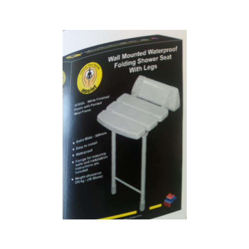 Assist Folding Shower Seat C/W Legs 500mm Wide