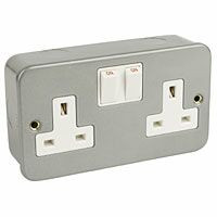 2 Gang Metal Socket + Switch