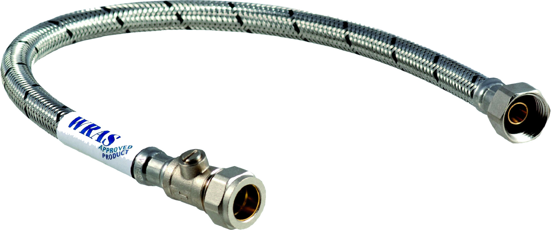 """3/4"""" Flexible Hose Tap Connector 300mm c/w Isolating Valve"""