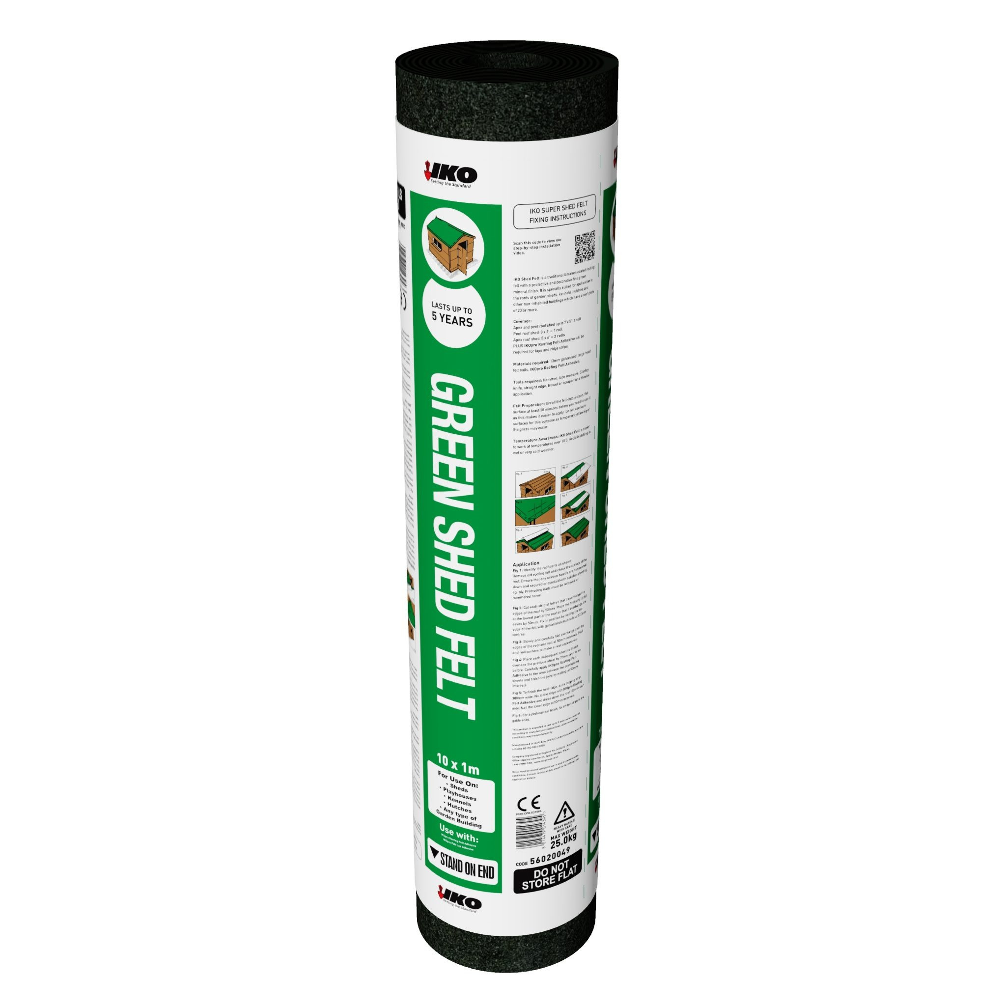 IKO Shed Felt Green 20Kg 1m x 8mt Roll