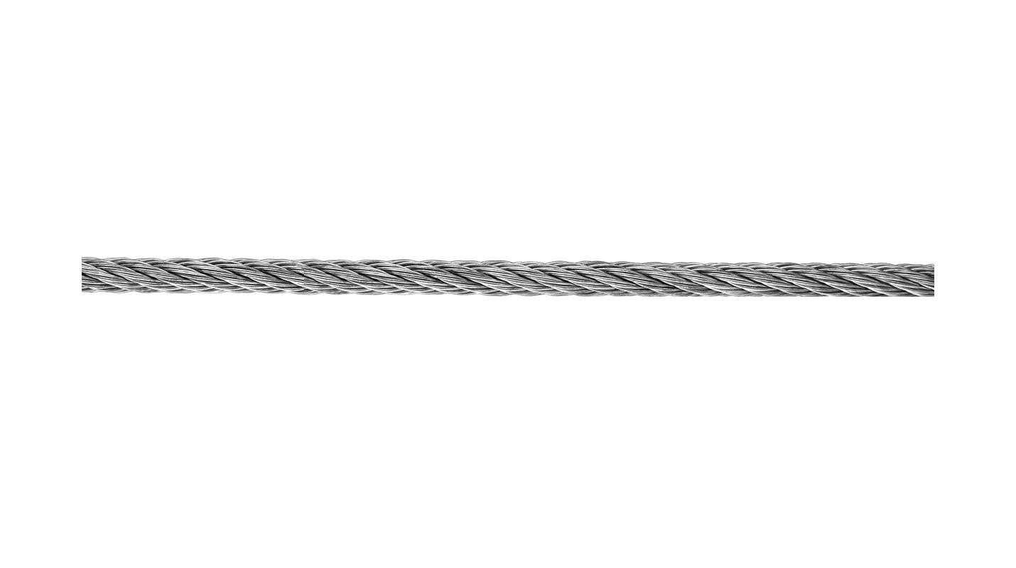Wire Rope Galvanised 2mm 'Per Metre'  Load Limit 40kg  (Full Size Roll 200m)