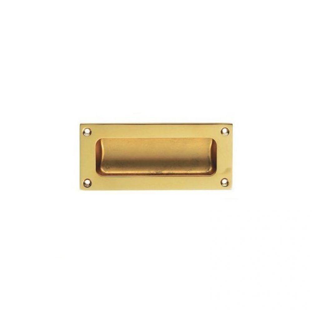 Flush Pull Polished Brass 102 x 45mm