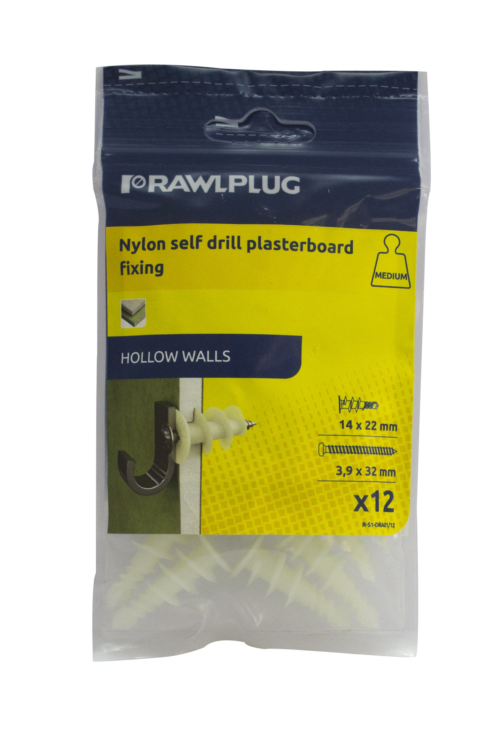 Rawl Trade Nylon Self Drill Plasterboard Fixing (12pcs)