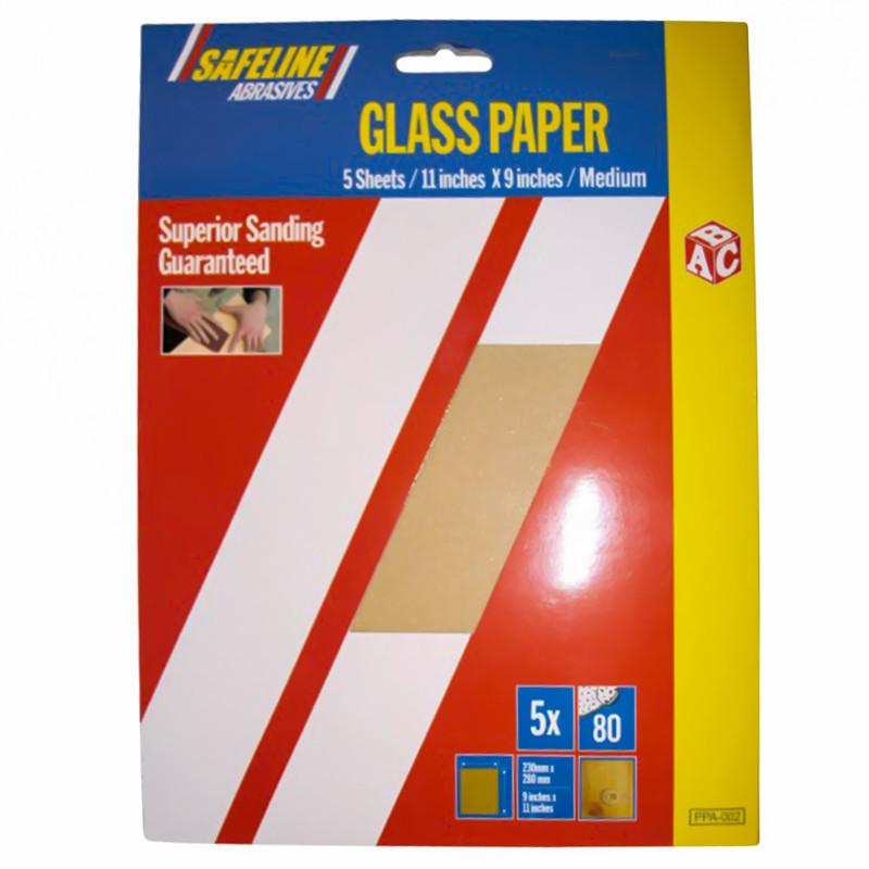 Sand/Glass Paper Sheets Medium Grade (5)