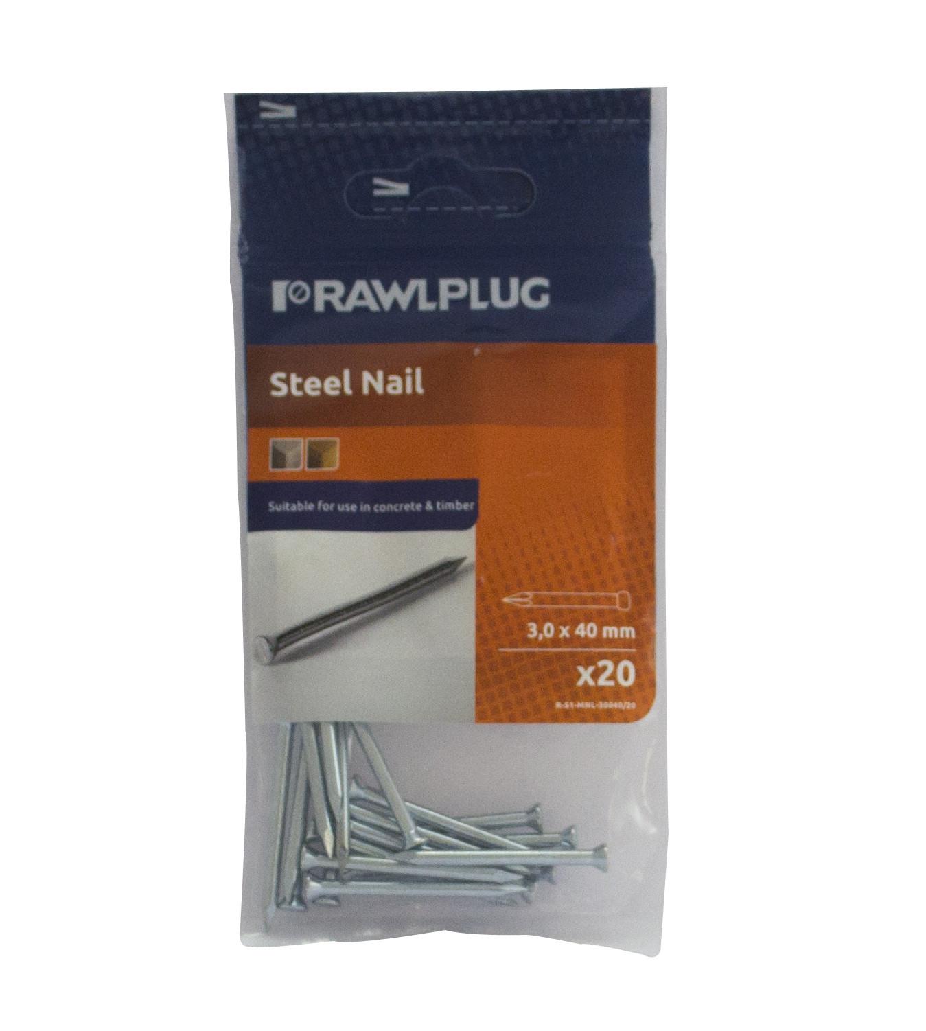 Rawl Trade Masonry Nails 3.0 x 50mm (20pcs)