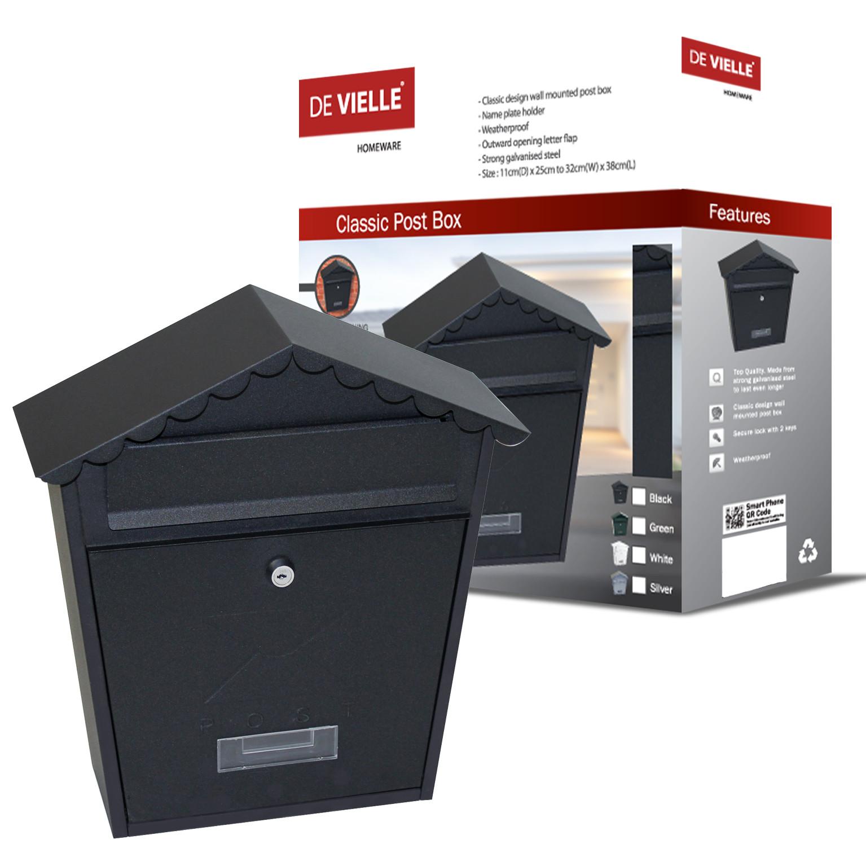 Classic Post Box Black (Wall Mounted)