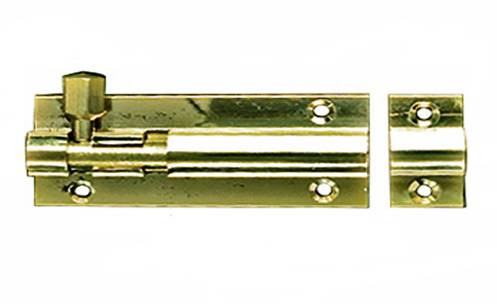 Barrel Bolt Necked (Cranked) 100mm Brass
