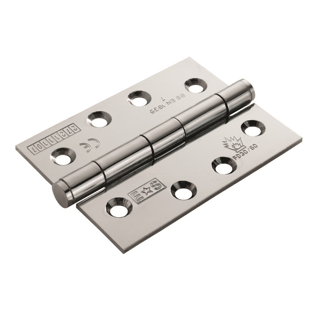 Satin Chrome 100mmx76mmx2.5mm Plain Bearing Hinge (1/2 hour) - Grade 7 (Pair)