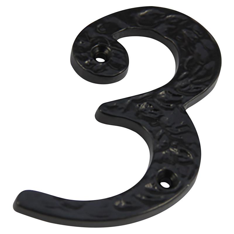 Numeral 3 Screw Fix 100mm Black Antique ***