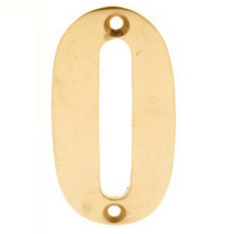 Numerals 0 Screw Fix 65mm Brass ***