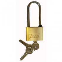 Tessi Solid Brass Padlock With Long Shackle 50mm