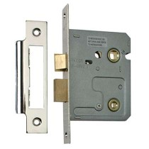 Bathroom Mortice Lock 2 Lever 63mm Nickel