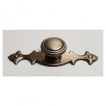 Cabinet Knob & Long Backplate Pewter