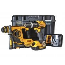 DeWalt 18V Twin Pack With 2x4.0Ah Li-Ion Batteries (DCK206m2 - SDS Hammer Drill/ Compact Drill Driver)