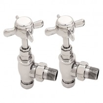 "Victorian Angled Radiator Valves 1/2"" (Chrome)"