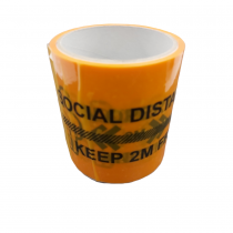 Social Distance Branded Warning Label Tape 100mm x 4.4M Roll (21 Labels per Roll)