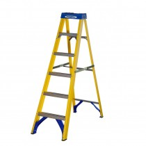6 Tread Werner Fibreglass Trade Swingback Stepladder