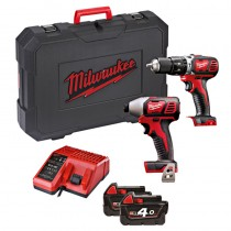 Milwaukee 18V Twin Pack Cordless Drill/ Impact Driver cw 2x4.0Ah Batteries, Charge & Case