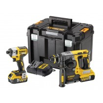 DeWalt DCK2532P2 Twin Pack Impact & SDS Brushless Twin C/W 2 x 5.0AH Batteries