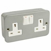 2 Gang Metal Socket + Switch