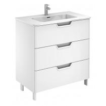 Lyon Gloss White 80cm Floor Standing 3 Drawer Vanity Unit