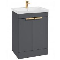 Stockholm Midnight Grey Matt 60cm 2 Door Floor Standing Vanity Unit - Brushed Gold Handle