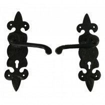 Black Antique Lever Lock Set Fleur-De-Lys