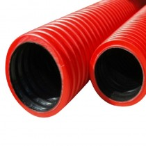 Twinwall Cable Ducting Red (750n) 100/118mm x 6mtr Incl. Seals + Coupler