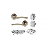 Tavira WC Lever On Rose Doorpack, Incl. WC Lock, Thumbturn & 3 NO. X Hip Hinges SN